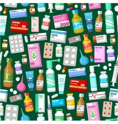 Medicine tablets pills and vitamins pattern vector
