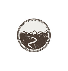 mountain patch and sticker vintage hand drawn vector image vector image