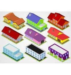 Nine isometric houses vector image vector image