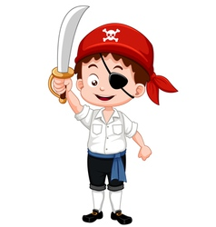 Pirate boy holding sword vector