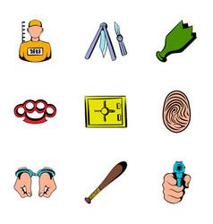 prisoner icons set cartoon style vector image vector image