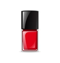 Red nail lacquers contained in bottle vector