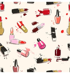 seamless pattern with lipstick end nail polish vector image vector image