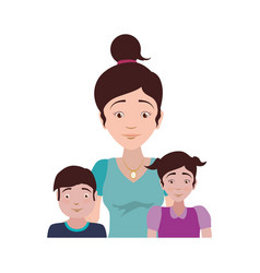 single mother family children vector image vector image