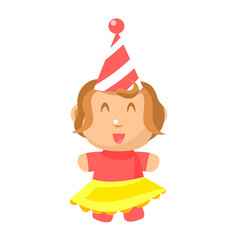 Small happy baby girl in party hat and yellow vector
