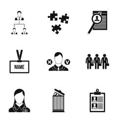Staffing agency icons set simple style vector