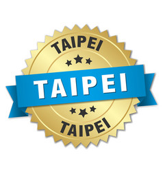 Taipei round golden badge with blue ribbon vector