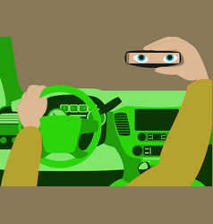 The driver in the car looks in the rear-view vector