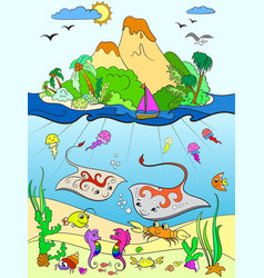Underwater world with fish plants island and vector