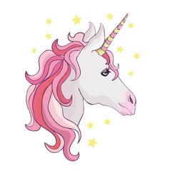 unicorn icon isolated on white head portrait vector image vector image