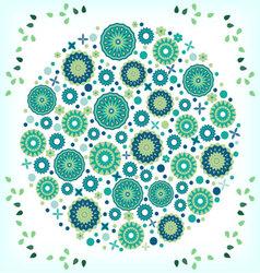 Vintage circular floral ornament vector