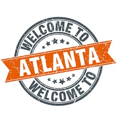 Welcome to atlanta orange round ribbon stamp vector