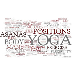 Yoga asanas text background word cloud concept vector