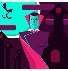 Count dracula on the background of the castle and vector