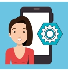 Woman smartphone applications gear vector