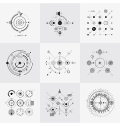 Scientific bauhaus technology circular grids vector