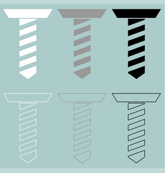 Self tapping screw white grey black colour vector