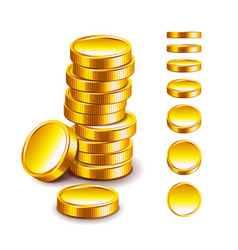 Golden coin isolated on white vector