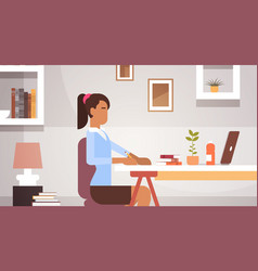 indian business woman sitting desk working vector image