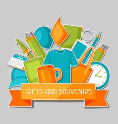 Advertising background with promotional gifts and vector
