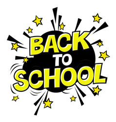 Back to school poster comic retro yellow alphabet vector