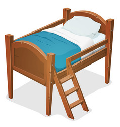 Wood bed with ladder vector