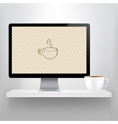 Shelf With Computer And Cup Of Coffee vector image