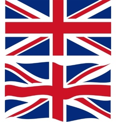 Flat and waving british flag vector