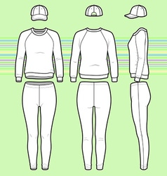 Sweatshirt cap and leggins set vector