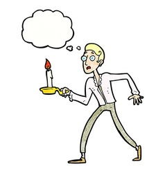 Cartoon frightened man walking with candlestick vector