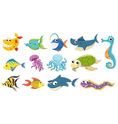Different kind of sea animals vector