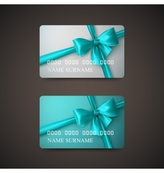 Gift cards with azure bow and ribbon vector