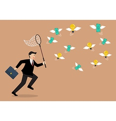 Businessman trying to catch money and lightbulb vector