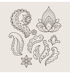 Set of abstract flowers and paisley elements in vector