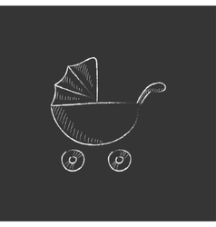 Baby stroller drawn in chalk icon vector