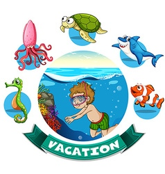 Vacation banner with man diving underwater vector