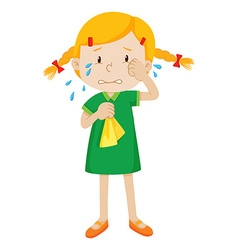 Little girl in green dress crying vector