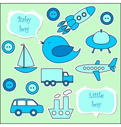 Set of scrapbook elements for baby boy vector