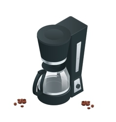 Coffee machine isolated on white flat 3d vector