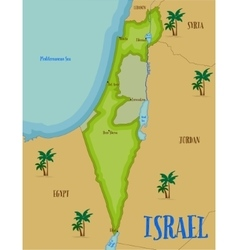 Map of israel in cartoon style vector