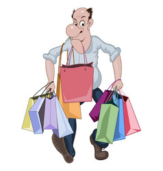 Cartoon man walking with a lots of shop bags vector