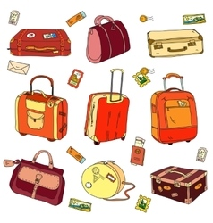 Collection of vintage travel suitcases with vector image