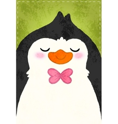 Cute cartoon penguin card vector