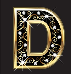D gold letter with swirly ornaments vector