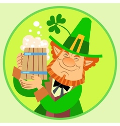 Day Patrick green leprechaun with beer and vector image vector image