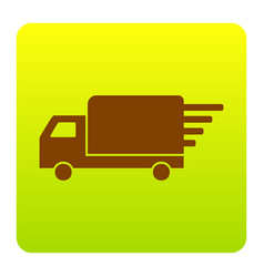 delivery sign brown icon at vector image