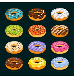 Donut cake cartoon icons chocolate assorted donuts vector