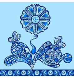 fantasy flower pattern blue vector image vector image