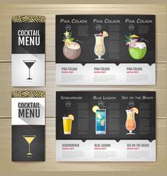 Flat cocktail menu concept design vector