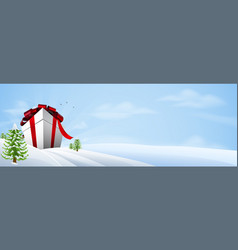 giant christmas gift banner background vector image vector image